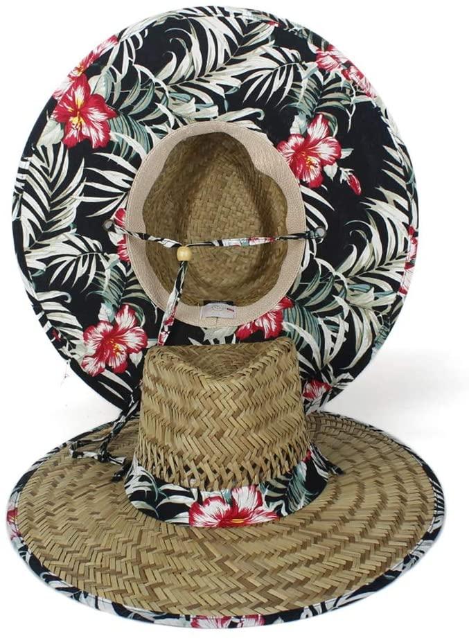 QINMEI Women Lifeguard Hat 100% Natural Straw Weave Lady Summer Beach Sun Hat Outdoor Bohemia Wide Brim Fedora Panama Hat Size 58-59CM (Color : Black, Size : 56-58)