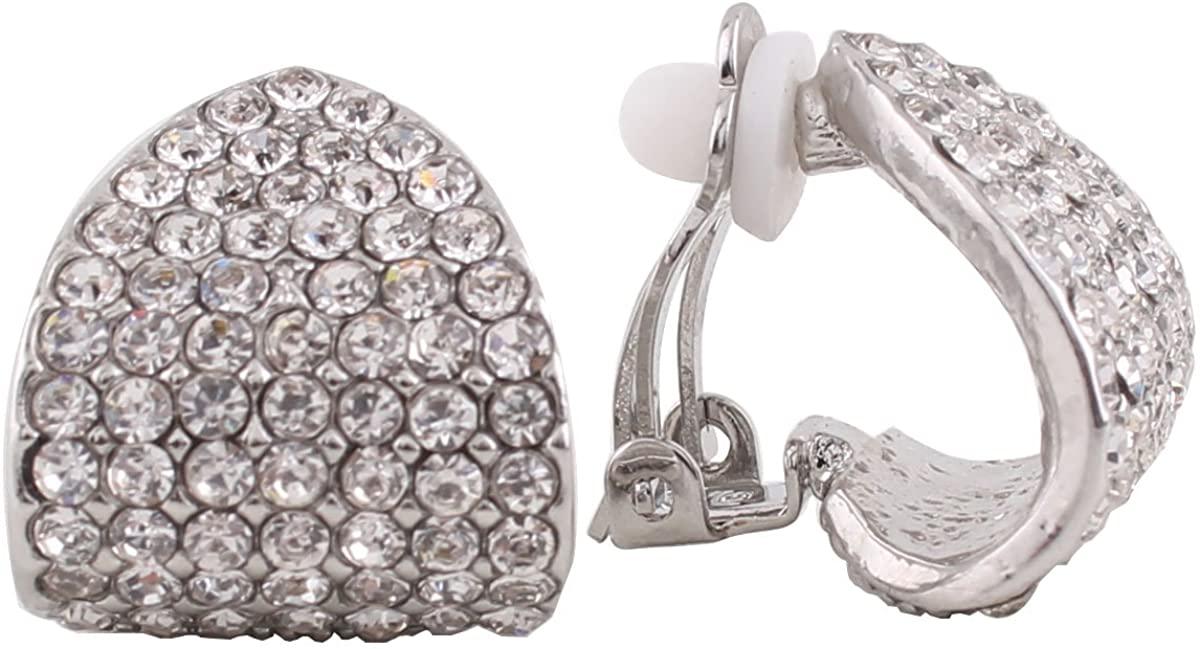 Grace JunNew Design Bridal Rhinestone Crystal Silver/Gold Clip on Earrings Non Piercing for Women