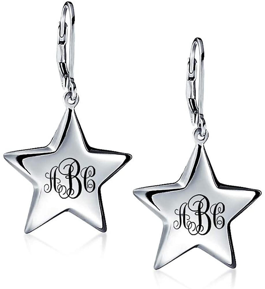 Personalize Engrave Patriotic Celestial Supper Star Dangle Leverback Earrings For Women For Teen 925 Sterling Silver