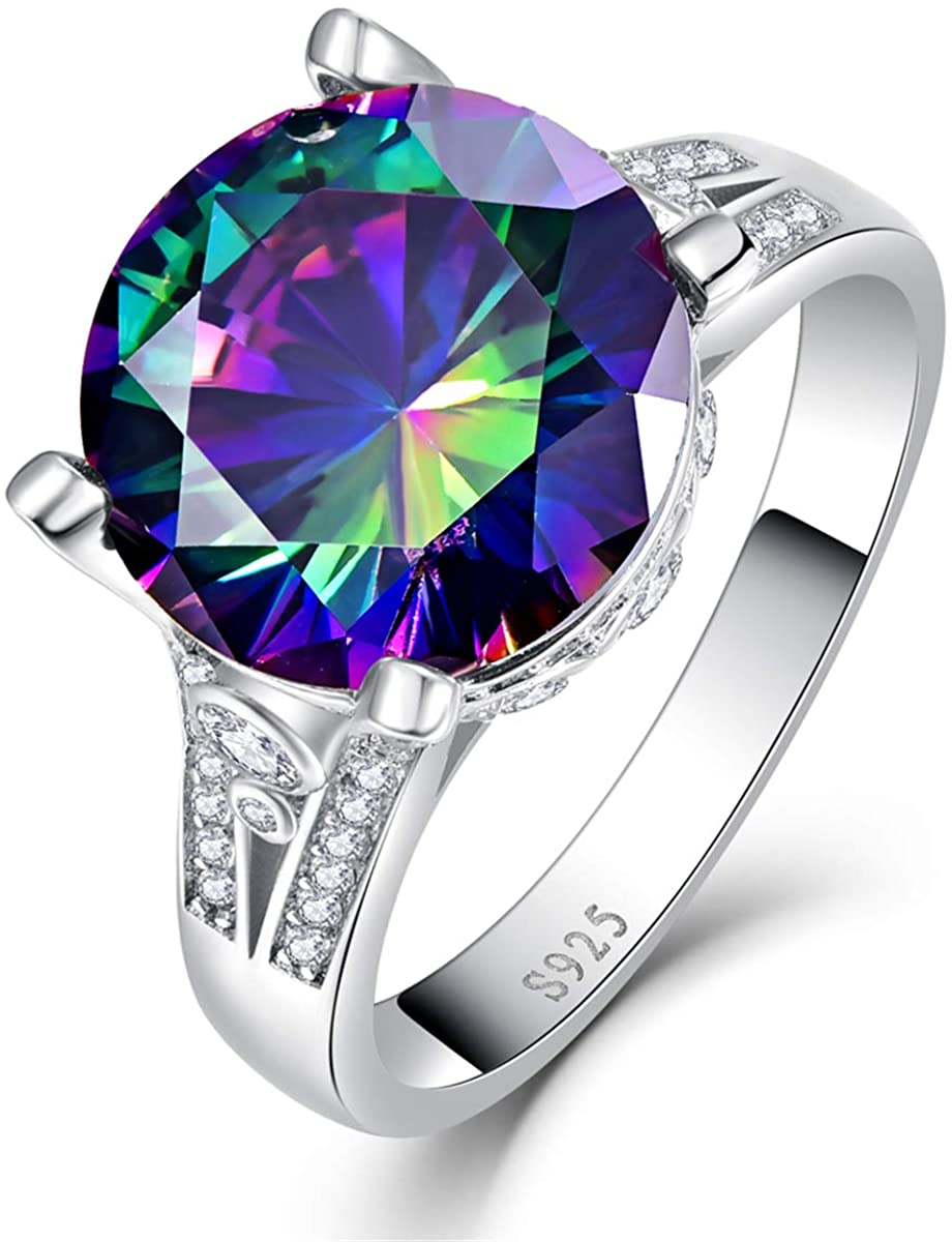 BONLAVIE 925 Sterling Silver Rings for Her 10.5ct Round Cut Created Mystic Rainbow Topaz Cubic Zirconia CZ Solitaire Promise Engagement Ring