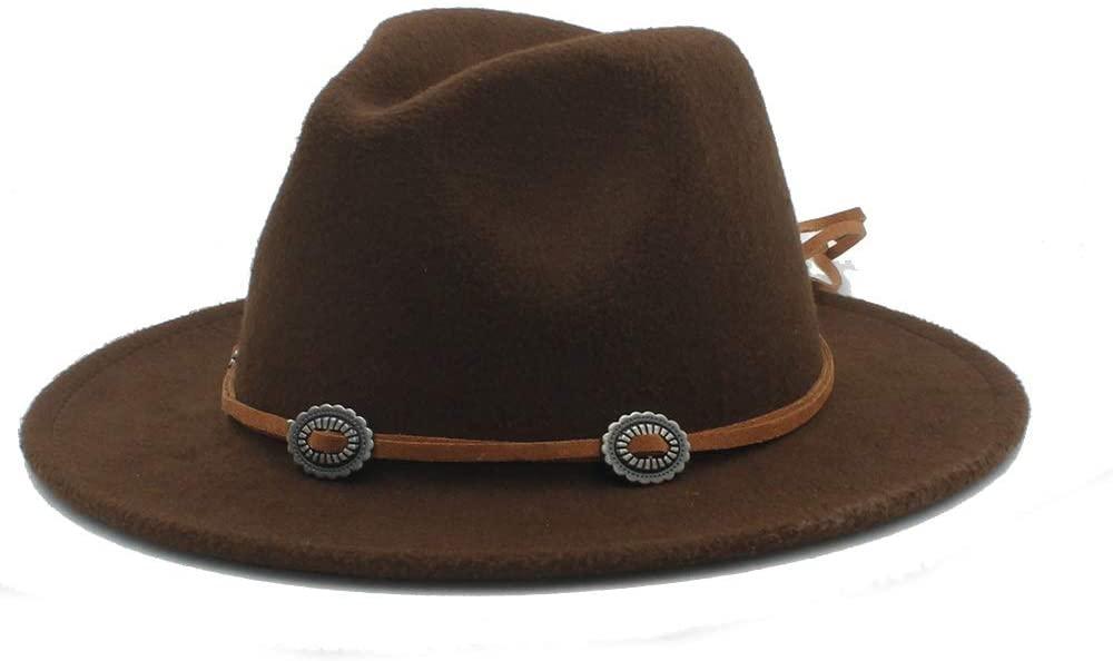 XinQuan Wang Men Women Winter Fedora Hat Panama Jazz Hat Wide Brim Church Fascinator Hat Casual Wild Jazz Hat Size 56-58CM (Color : Coffee, Size : 56-58)