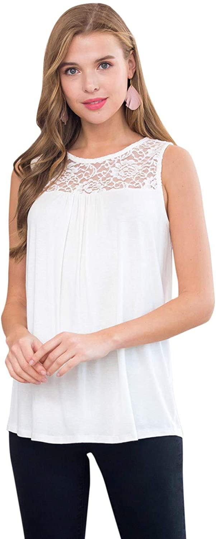 Feminine Lace Panel Pleated Top, Dress - Casual Work Quarter Short Sleeve Tunic Shirt, Sleeveless Tank
