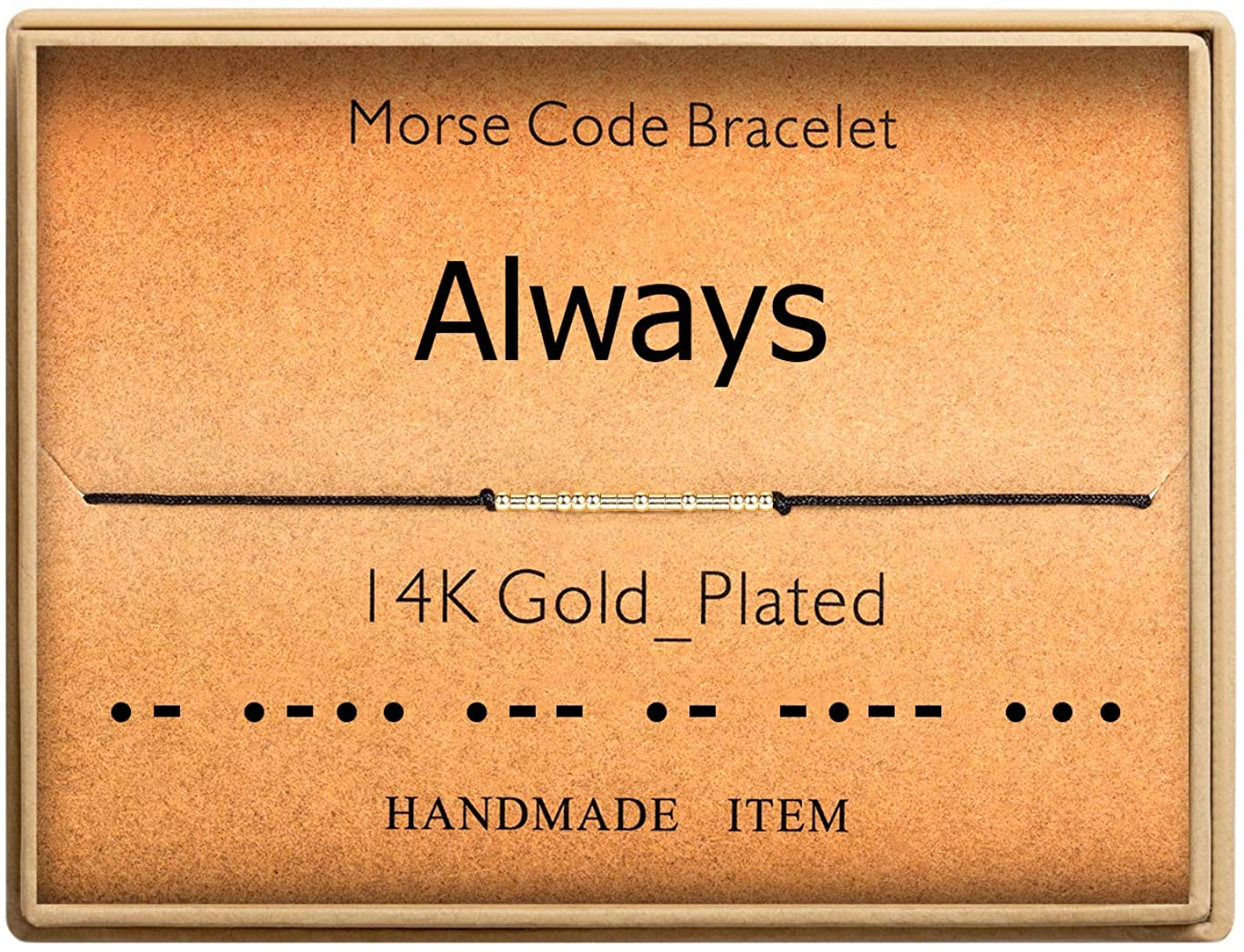 Morse Code Bracelet 14k Gold Plated Beads on Silk Cord Secret Message Always Bracelet Gift Jewelry for Her