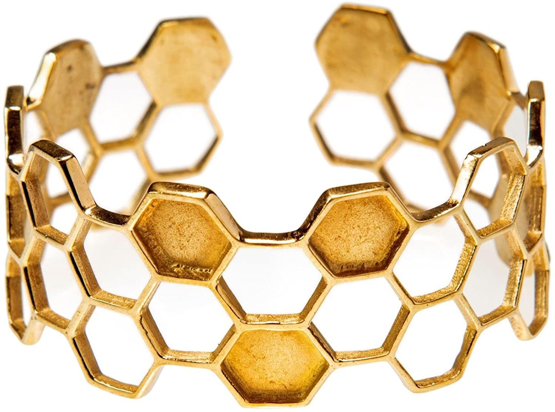81stgeneration Women's Gold Tone Brass Geometric Honeycomb Hexagon Cuff Adjustable Bangle Bracelet