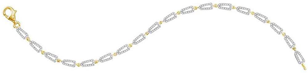 Dazzlingrock Collection 10kt Yellow Gold Womens Round Diamond Geometric Link Bracelet 3/4 Cttw