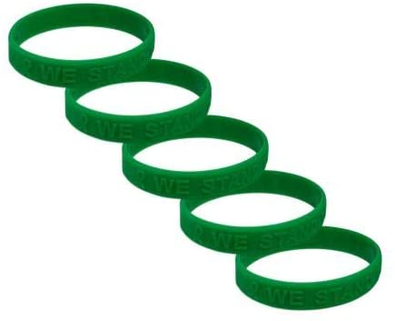 Liver Cancer Awareness Embossed Silicone Bracelet 5 Pack
