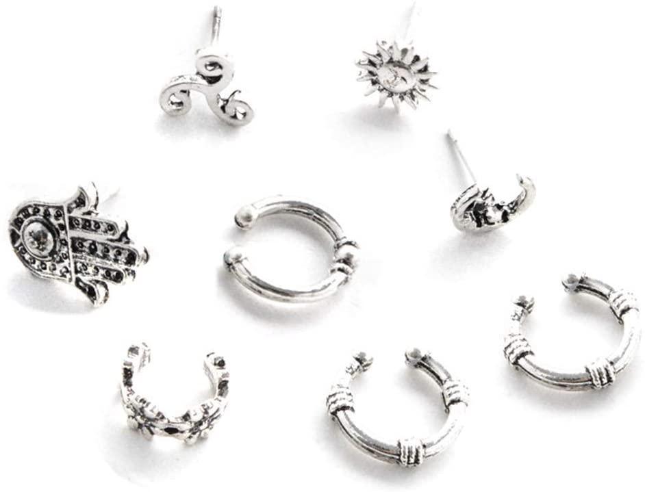 New Design Personality Sun Flower Moon Geometric Earrings 8 Pieces/Set Vintage Ear Cuff Earrings for Women Jewelry