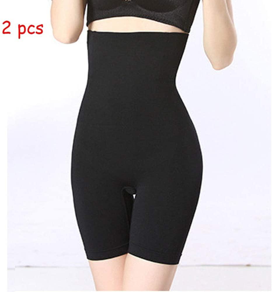Fad-J Shapewear Shorts for Women, Seamless Butt Lifter Tummy Control Thigh Slimmer High Waist Body Shaper Panties 2Pcs,Black,L