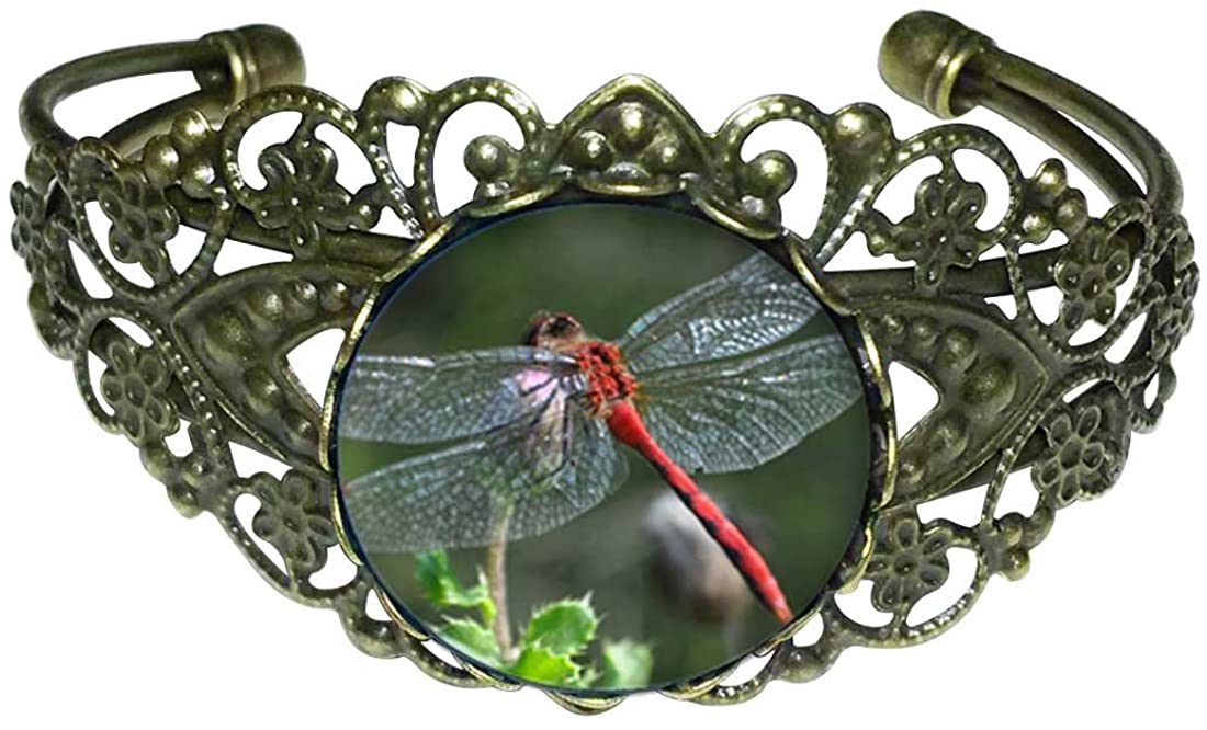 GiftJewelryShop Bronze Retro Style Beautiful Lovely Dragonfly Flower Cuff Bangle Bracelet Fashion Jewelry