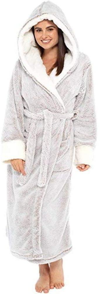 llwannr Bathrobe Robe Nightgown Sleep,Plush Bathrobe Women Warm Hooded Robe Ladies Casual Flannel Kimono Bath Robes Dressing Gowns Bathrobe,Gray,M