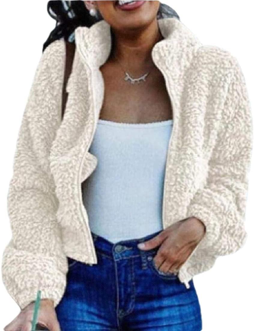 RRINSINS Women's Fleece Open Front Short Coats Faux Fur Coat Jacket Solid Color Outerwear Cardigans