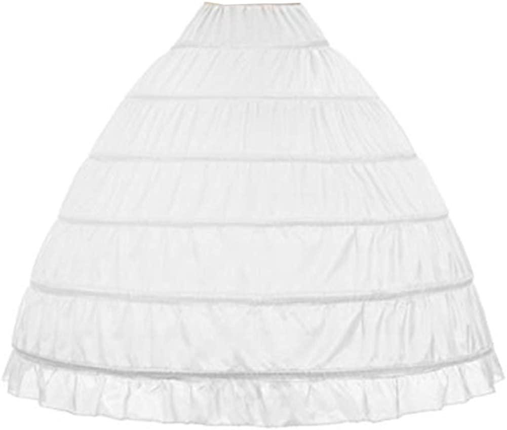 WOWBRIDAL Women 6 Hoops Skirt Crinoline Petticoats Slips Floor Length for Bridal Gown