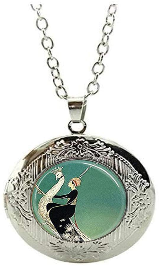 Art Deco Locket Necklace,Woman on White Peacock Keychain Emerald Green Peacock Locket Necklace Everyday Gift