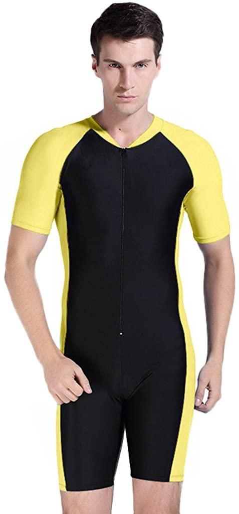 Cokar Short Sleeve One Piece Swimsuit UPF 50+ Rashguard Yellow Black-Man XX-Large