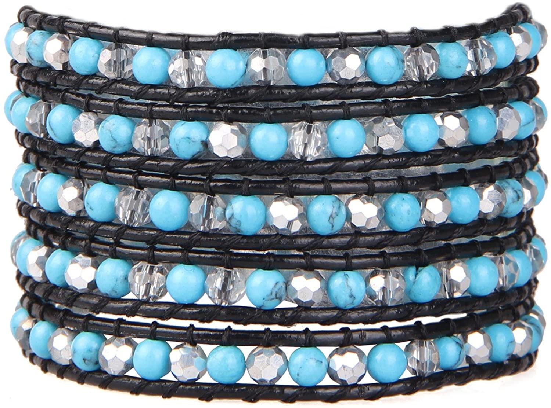 KELITCH Crystal Bracelet Braided Handmade Leather Unisex Bracelet Vintage Hand Chain Adjustable