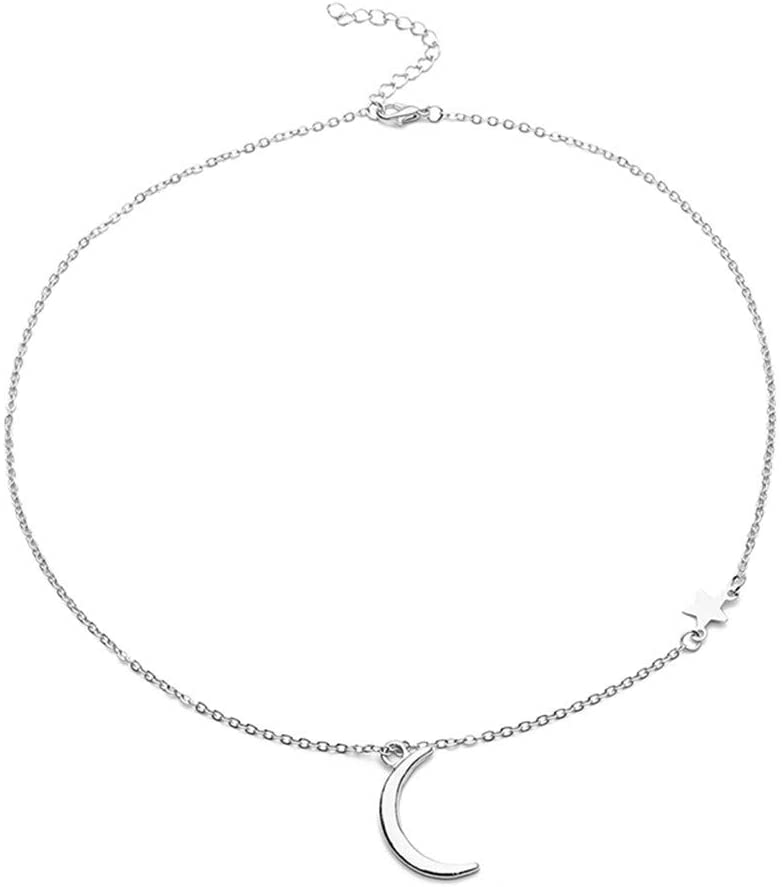 SOURBAN Moon and Stars Pendant Necklace Crescent Adjustable Chain Necklace for Women