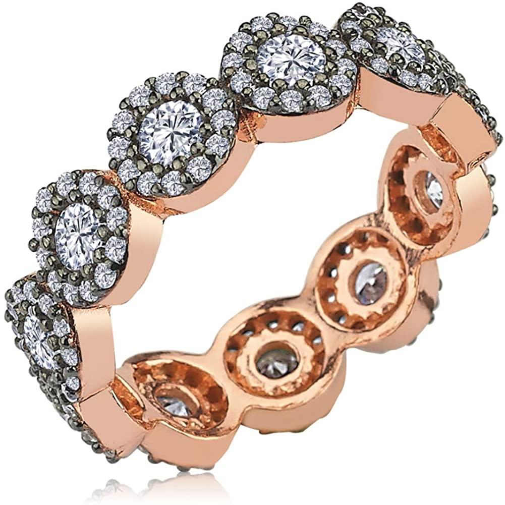 Solid 925 Sterling Silver Turkish Handmade Flower Women Eternity Ring
