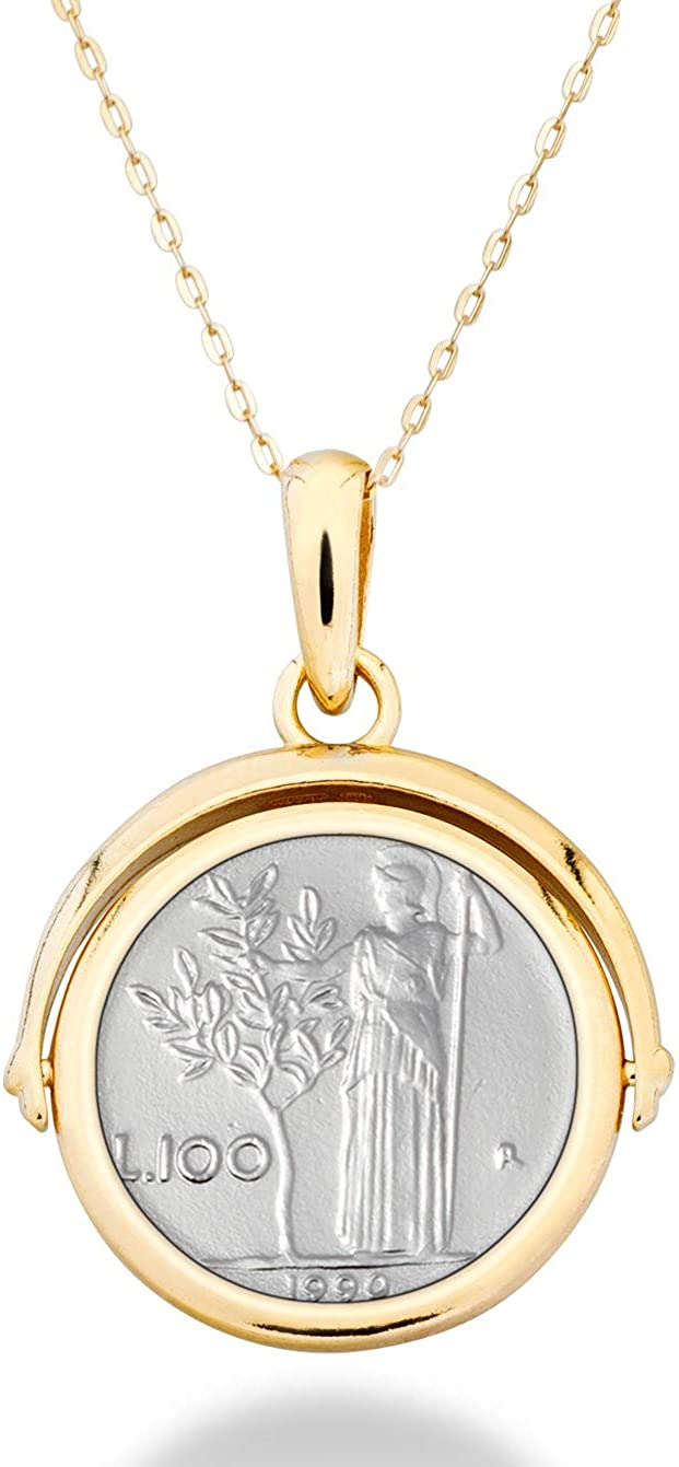 Miabella 18K Gold over Sterling Silver Italian Genuine 100 Lira Coin Reversible Flip Pendant with Adjustable Chain Necklace, Adjusts from 14-24 Inches 925 Made in Italy