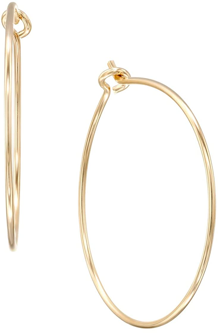 Round Hoop Earrings - Hypoallergenic Lightweight Wire Threader Loop Drop Dangles for Women, Safe for Sensitive Ears - Plated in 925 Sterling Silver or 14k GoldFilled