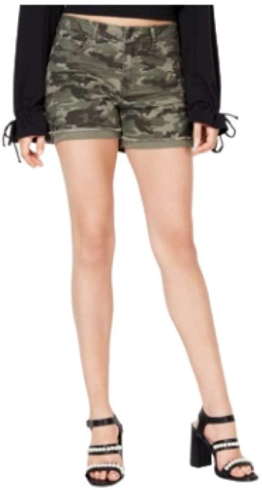 Vanilla Star Juniors Camo-Print Cuffed Jean Shorts CAMO 0