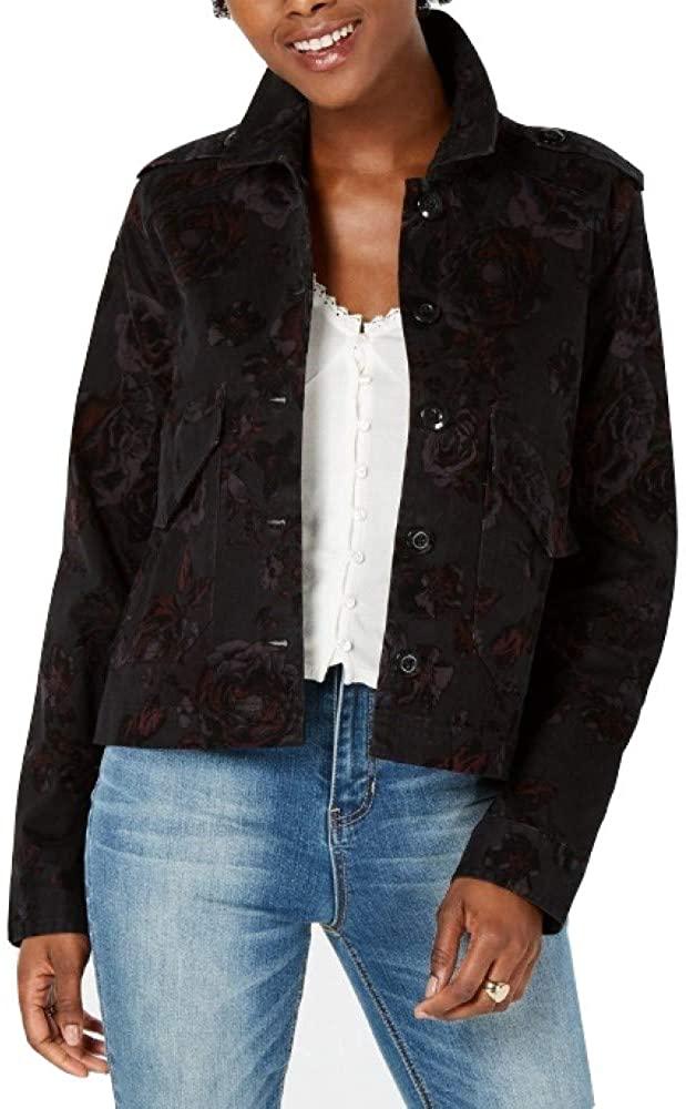 American Rag Juniors' Printed Velvet Jacket, Classic Black, XS
