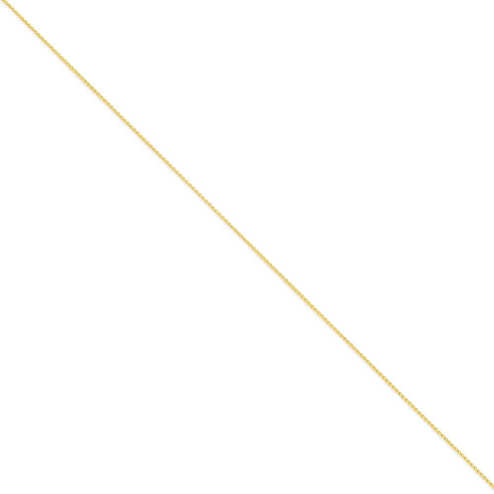 14k Gold 1.1mm Solid Polished Spiga Chain 9 Inches