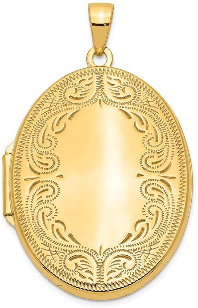 Finejewelers 14k 31mm Oval Scroll Locket Pendant Necklace 18 inch Chain Included