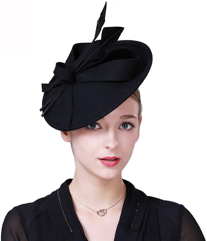 F FADVES Vintage Womens Dress Fascinator Wool Pillbox Hat Formal Church Wedding Tilt Hat