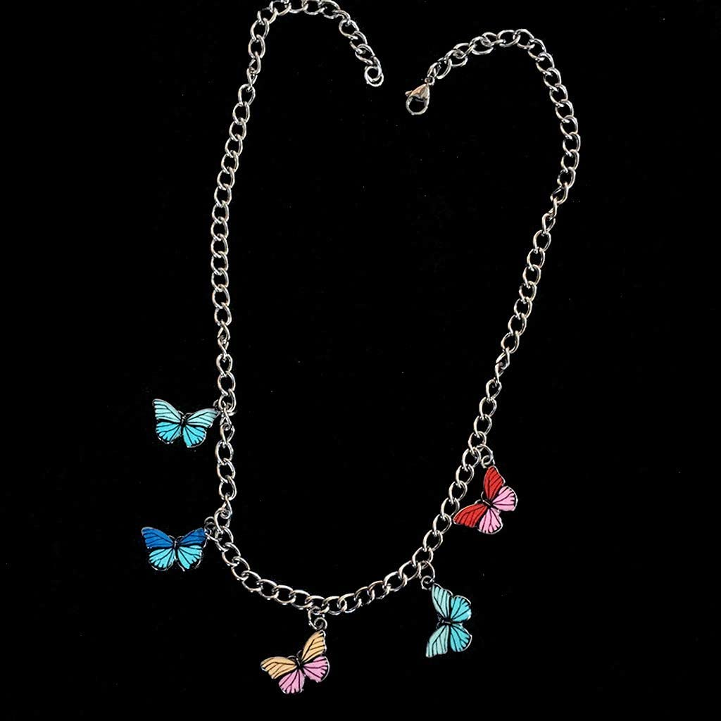 minansostey Stainless Steel Colorful Butterfly Choker Pendant Necklace Women Fashion Jewelry