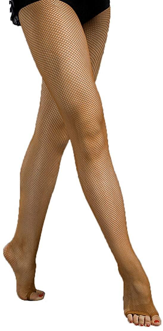 3C Women's Fine Soft Latin Rhythm Dance Tan Toffee Open Toe Fishnet Tight Stockings