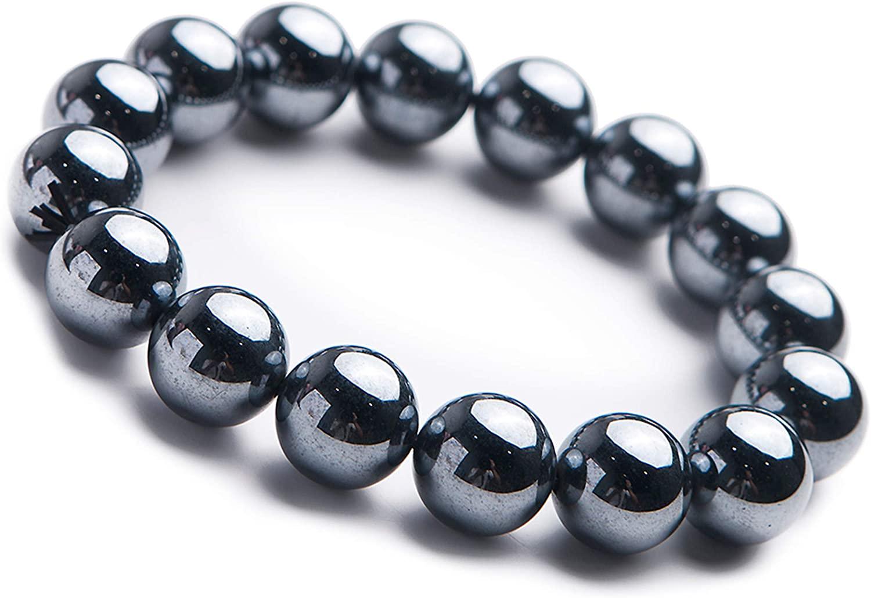 Genuine Natural Terahertz Wave Hematite Gemstone 14mm Big Round Bead Stretch Bracelet