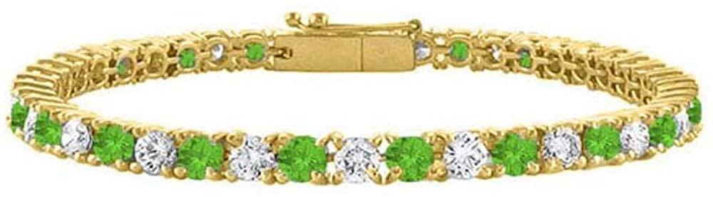 Cubic Zirconia and Peridot Tennis Bracelet in 18K Yellow Gold Vermeil. 2 CT. TGW.