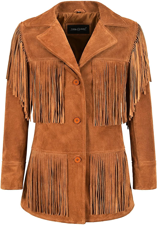 Women Fringe Suede Leather Jacket Tan Classic Western Style Fringe Jacket 5937