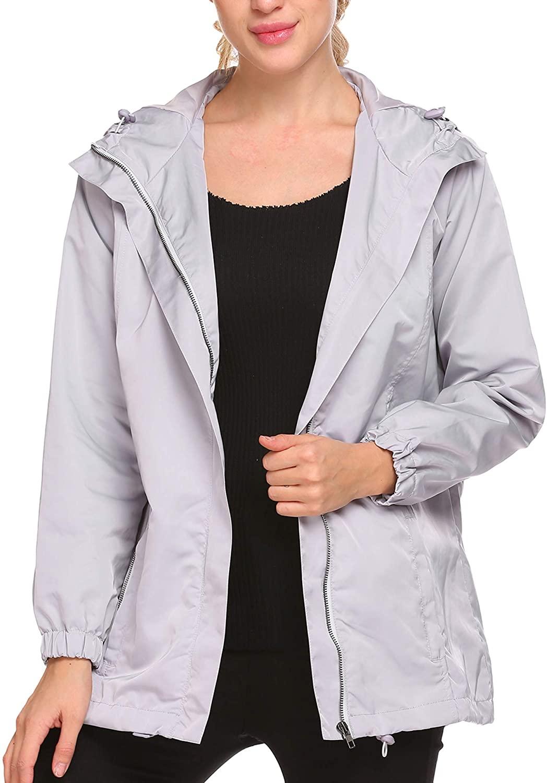 EASTHER Women's Waterproof Raincoat Lightweight Hooded Rain Jacket Windbreaker