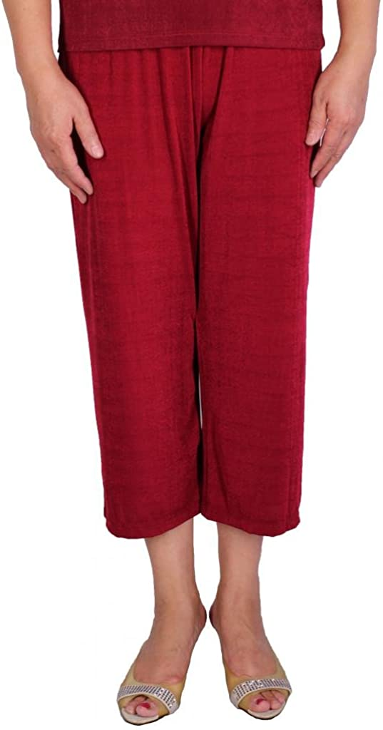 Calison Women's Acetate Slinky Stretch Pull On Capri Pants Made in USA