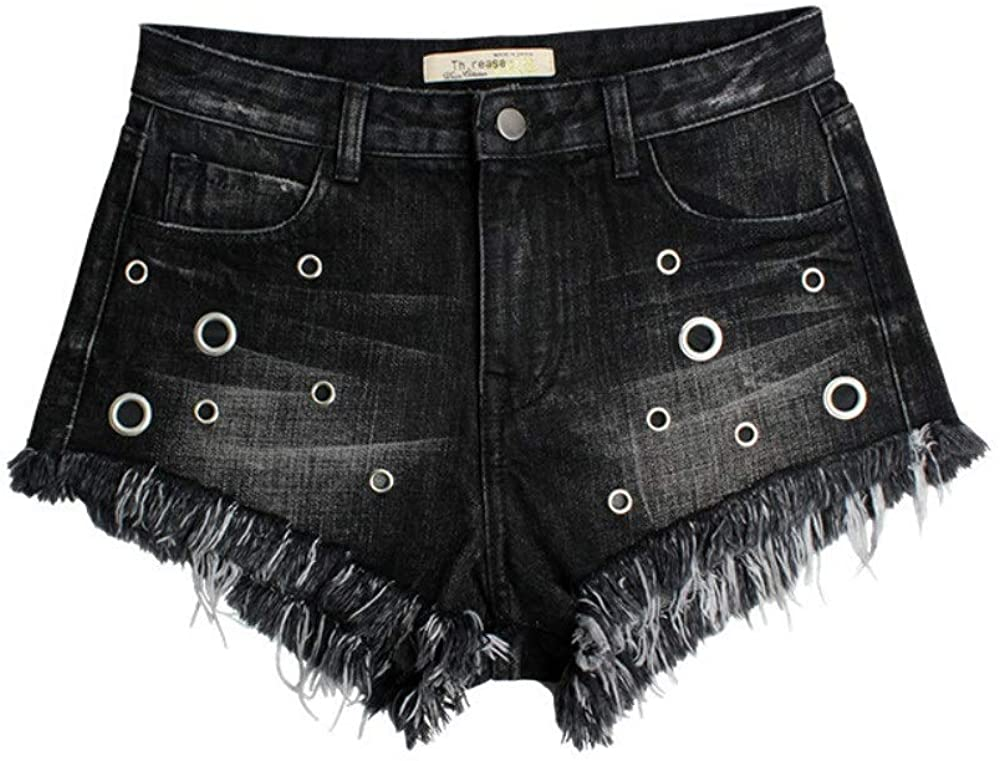 HXX Cats Eye Cornice high Waist Denim Shorts Grommet Dark Summer New Black Flow Whisky Women's Denim Shorts