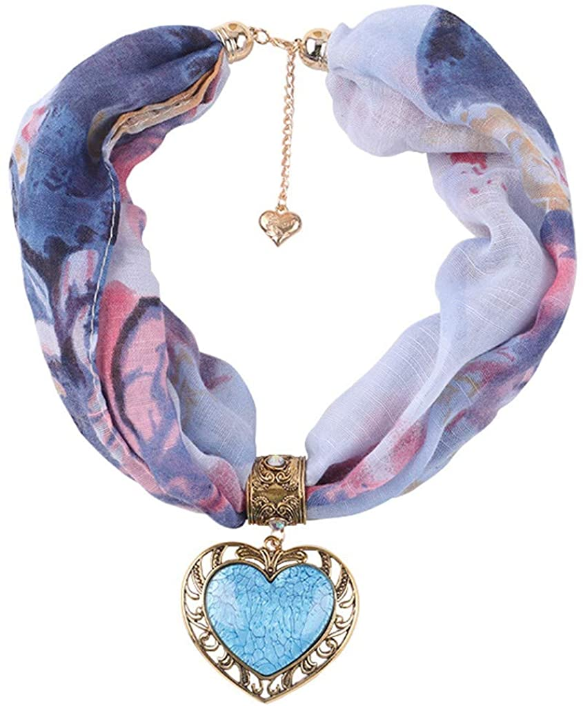 LENXH Women's National Wind Jewelry Scarf Love Pendant Necklace Gemstone Necklace Scarf Decoration Bib