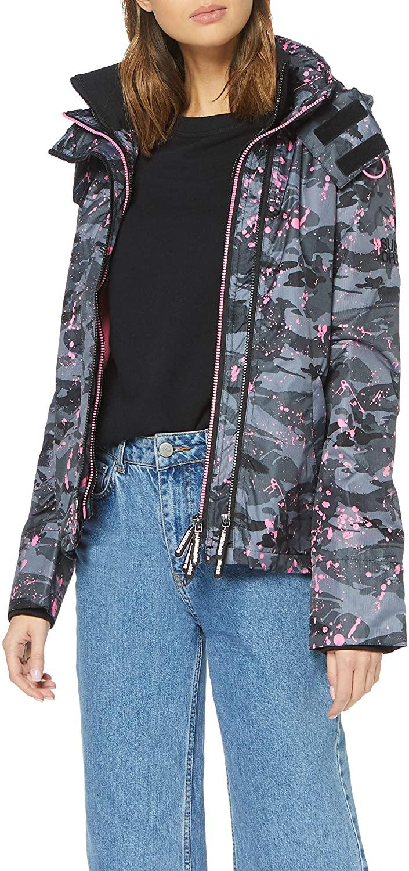 Womens Hooded Print Pop Zip SD-Windcheater Jacket Grey Desert Camo Splatter/Sugar Pink