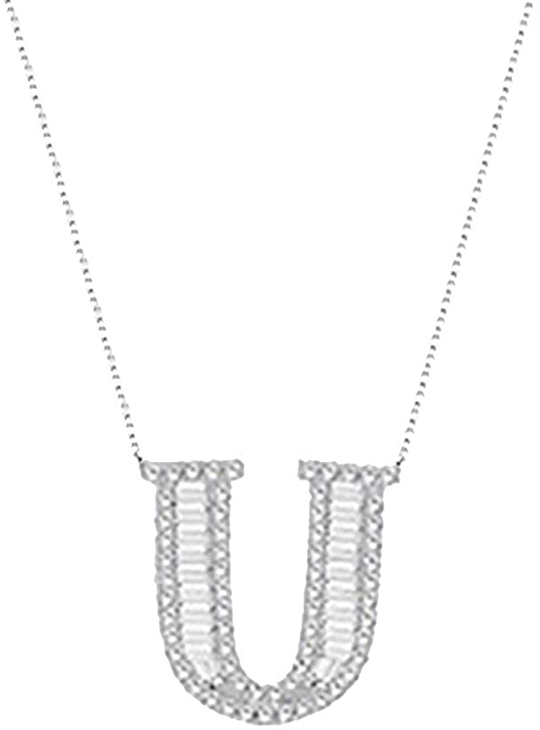 Sayhi Womens Alphabet Necklace Female Simple Clavicle Chain Pendant Diamond Jewelry Gifts