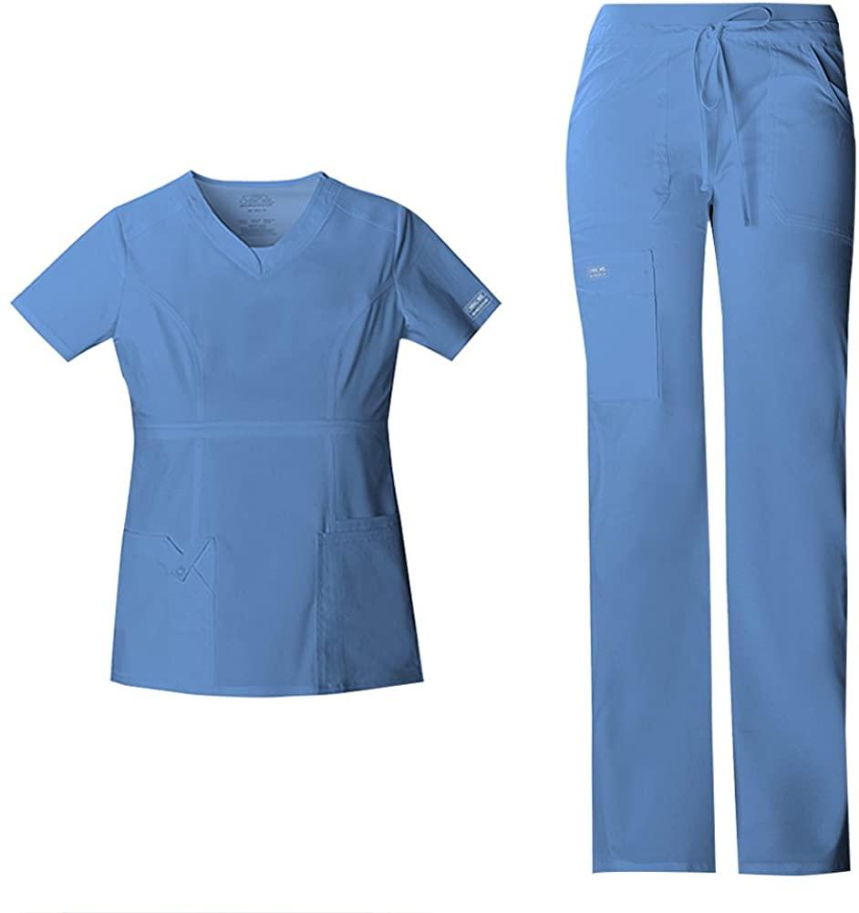 Cherokee Women's Workwear Core Stretch Junior Fit V-Neck Scrub Top 24703 & Junior Fit Low-Rise Drawstring Cargo Scrub Pants 24001 Medical Scrub Set (Ciel - Small/X-Small)