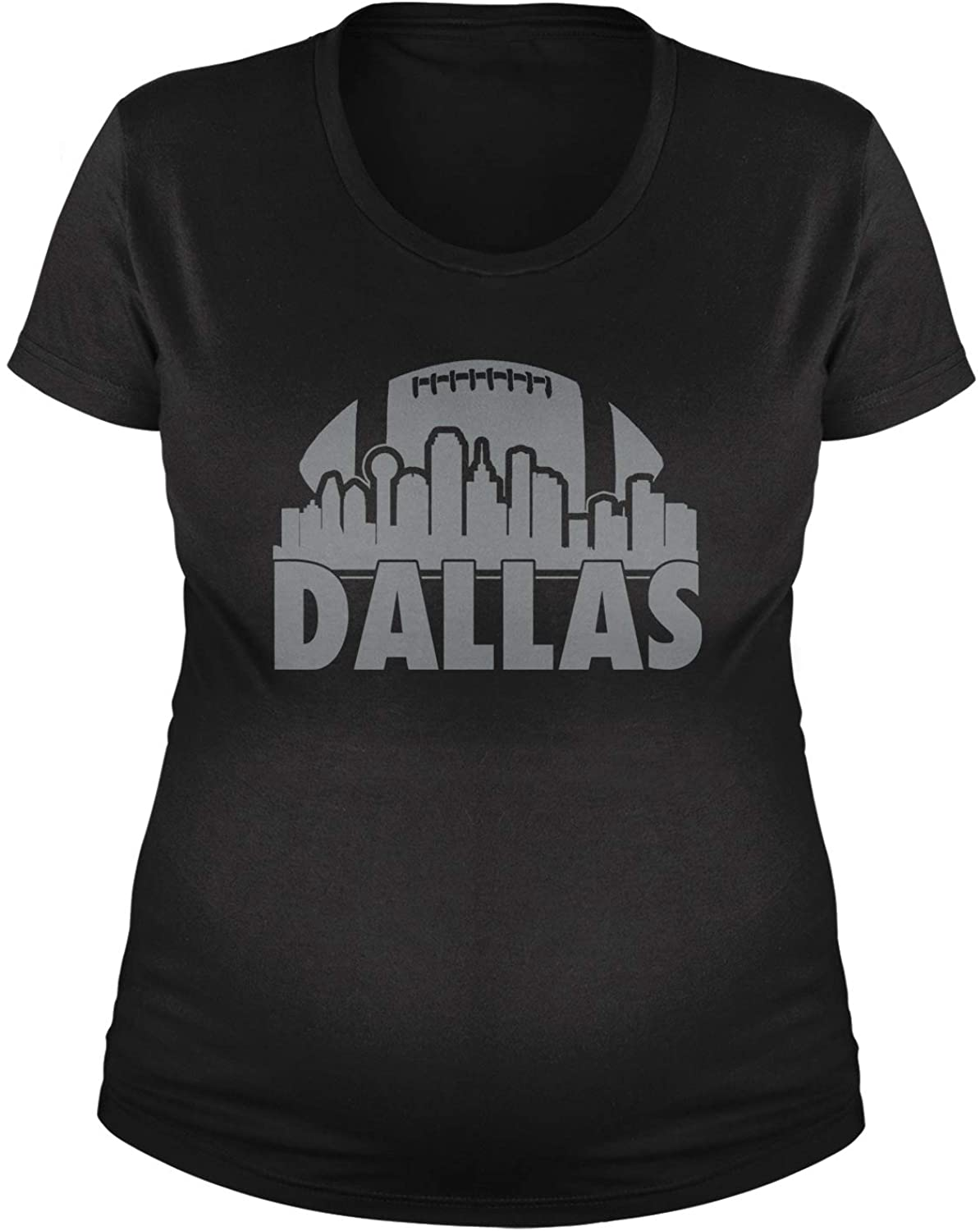 Expression Tees Dallas Skyline Football Maternity Pregnancy Scoop Neck T-Shirt