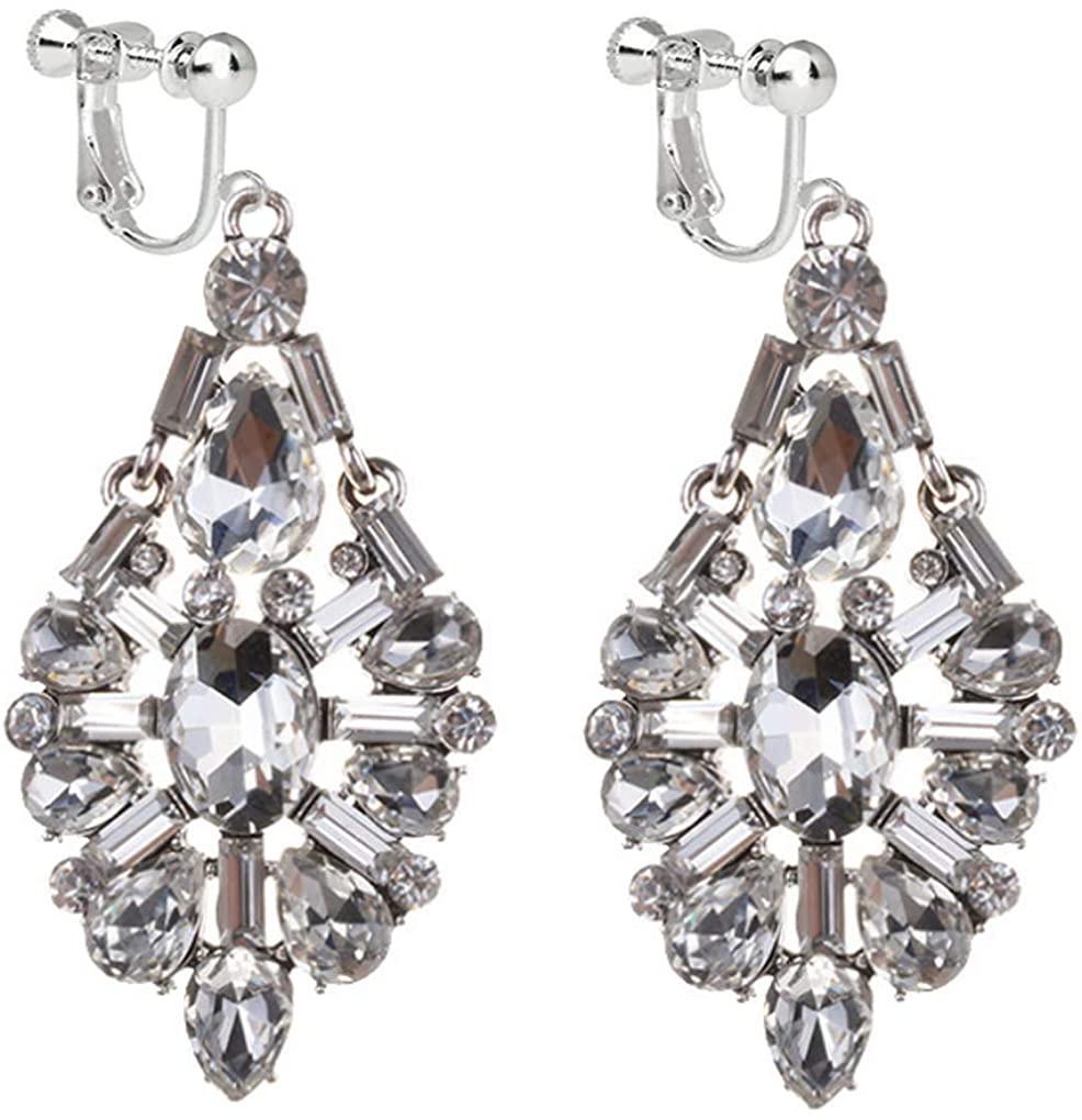 Flower Clip On CZ Earrings Waterdrop Rhinestone Deco Dangle Drop Silver Tone Gift