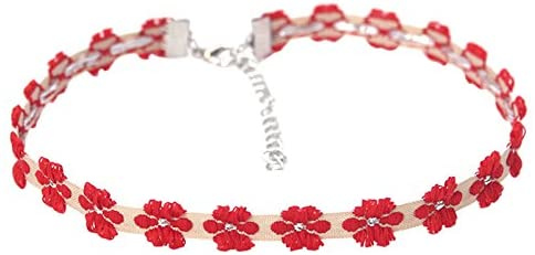 Tinksky Women's Fashion Retro Flower Neck Choker Embroidered Flowers Necklace, gift for women