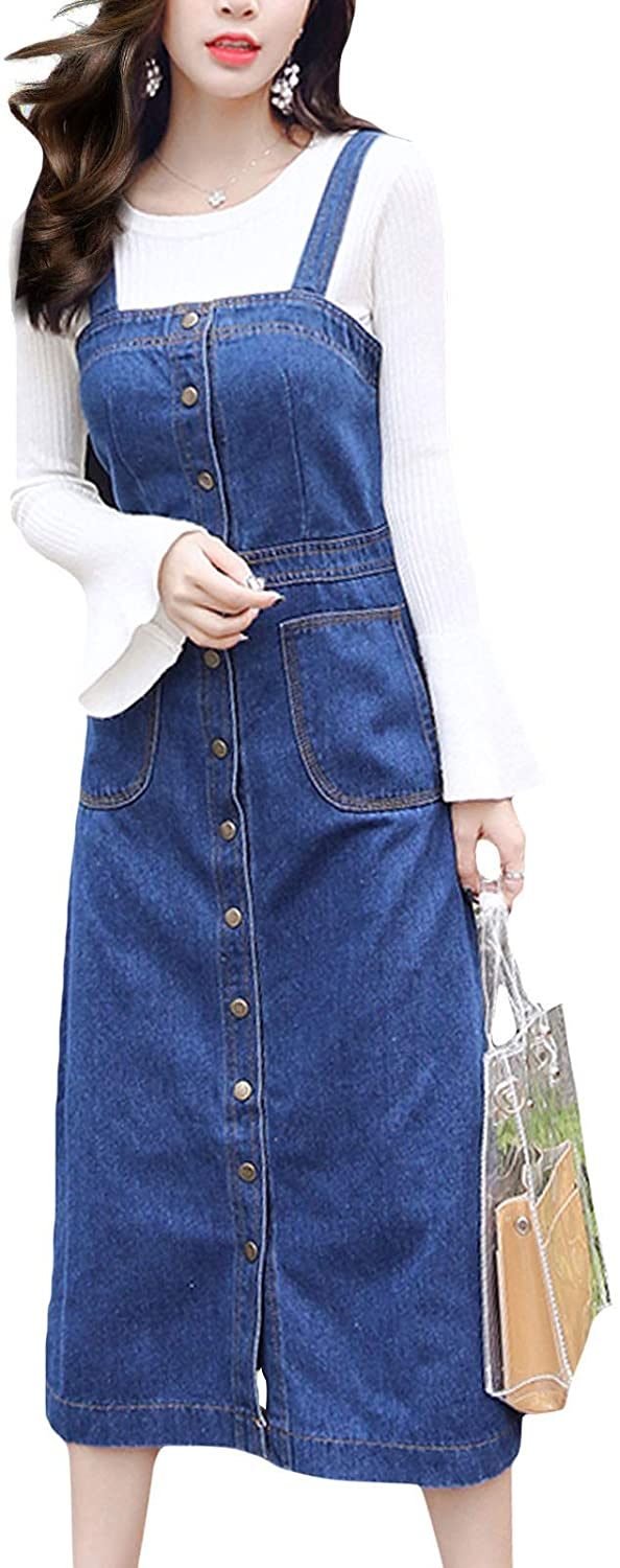 Flygo Womens Button Front Midi Long Denim Jean Overall Pinafore Dress Skirt