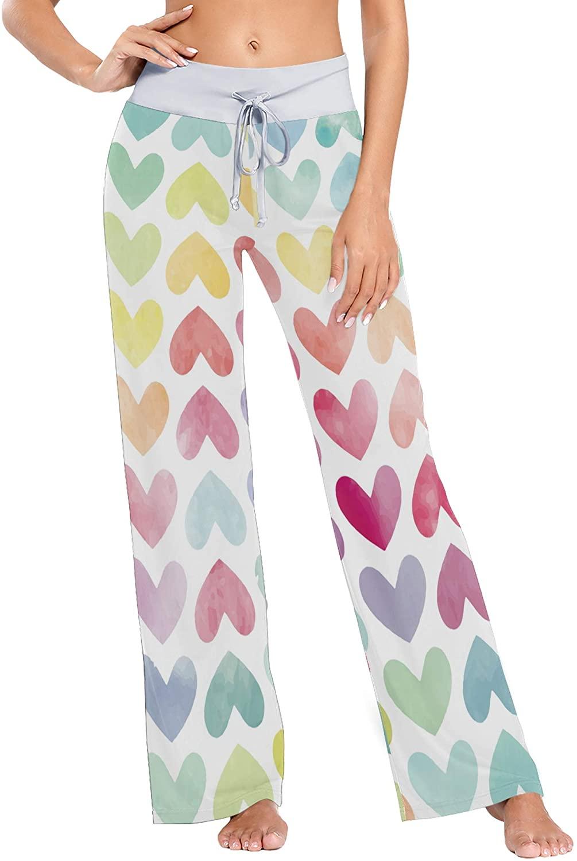Watercolor Painted Hearts Print Womens Sleepwear Loose Palazzo Casual Drawstring Yoga Pants