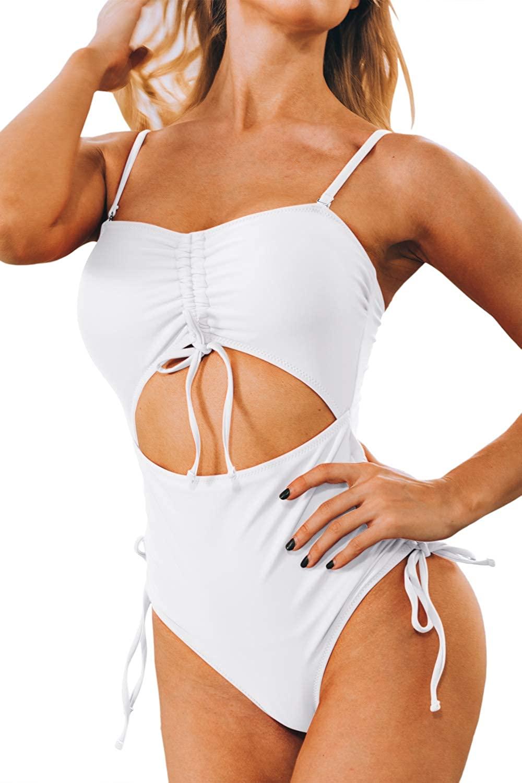 Mulisky Women's High Waisted Swimsuit Bandeau Cut Out Tummy Control Monokini One Piece Bathing Suit