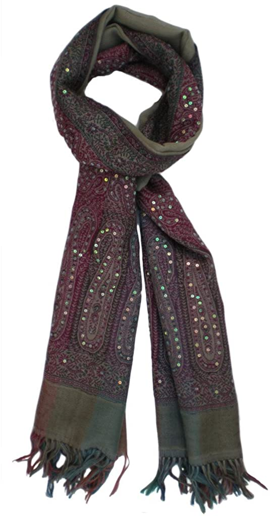 Beautiful Pure Wool Jamawar Jacquard Wrap with Sequin