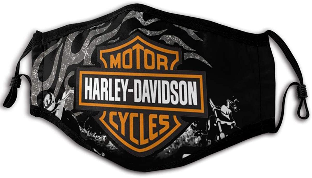 Comfortable And Adjustable Harley Davidson Black Printed Face Mask For Men And Women