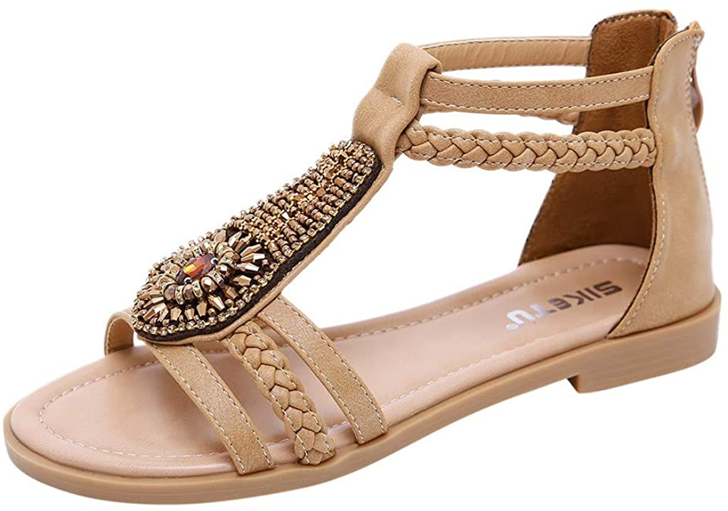 Plus Size Flat Sandals for Women Summer Casual Bohemia Ankle Crystal Zipper Shoes