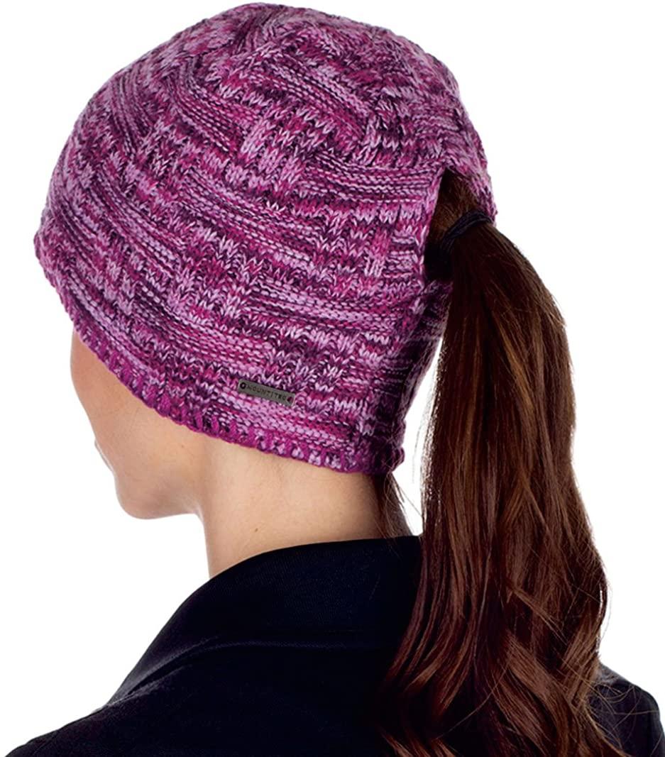 MOUNT TEC Ladies Space Dye Knit Ponytail Beanie Hat